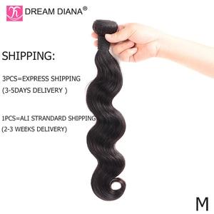 "Image 4 - DreamDiana Body Wave 1/3/4 Bundles 10"" 30"" Brazilian Hair Bundles Natural Color Remy Weaving 100% Human Hair Extensions M Ratio"