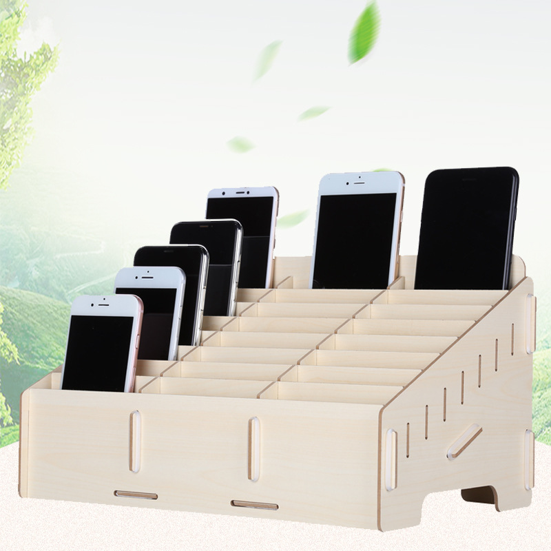 24 Lattice Wood Mobile Phone Storage Box Creative Office Conference Organizing Desktop Management Remote Controller Pen Storage