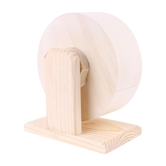 Pet Hamster Roller Wheel Natural Wood Play Toys Chinchilla Guinea Pig Squirrel Toy Rotate Running Exercise For Small Pets Bogie 3
