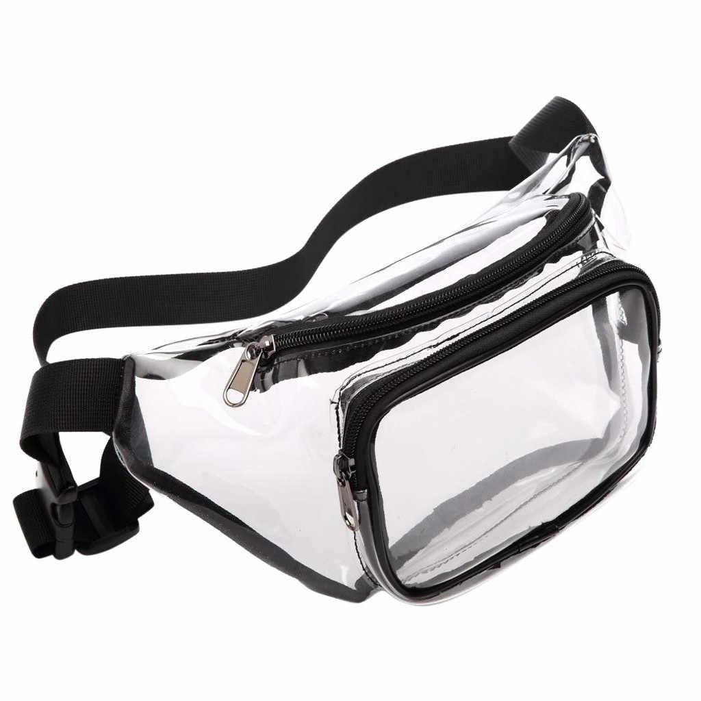 เอวหญิงเข็มขัดยี่ห้อ CLEAR Pack กันน้ำกระเป๋าถือ Unisex น่ารักเอวกระเป๋าใสปรับเข็มขัดกระเป๋า