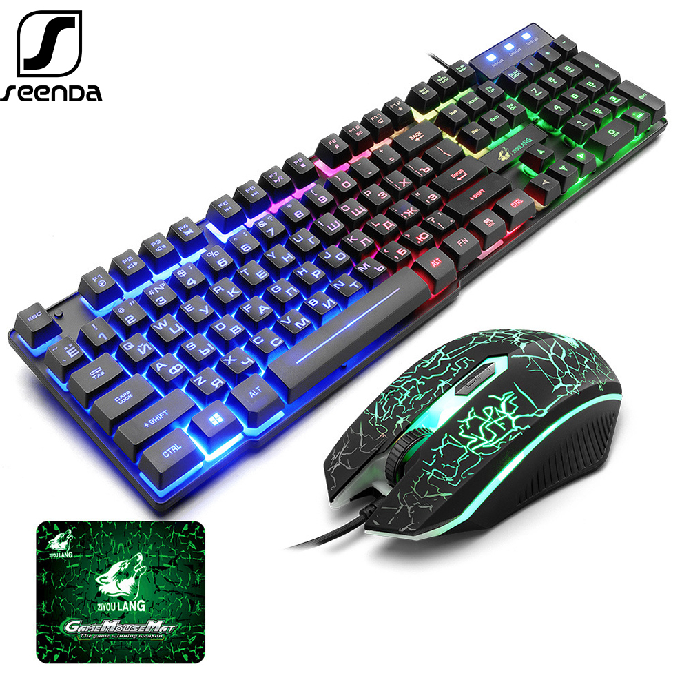 SeenDa Wired Gaming Keyboard Mouse Set Mechanical Feeling Russian+English Backlit RGB Keyboard and Mouse for Gamer PC Laptop
