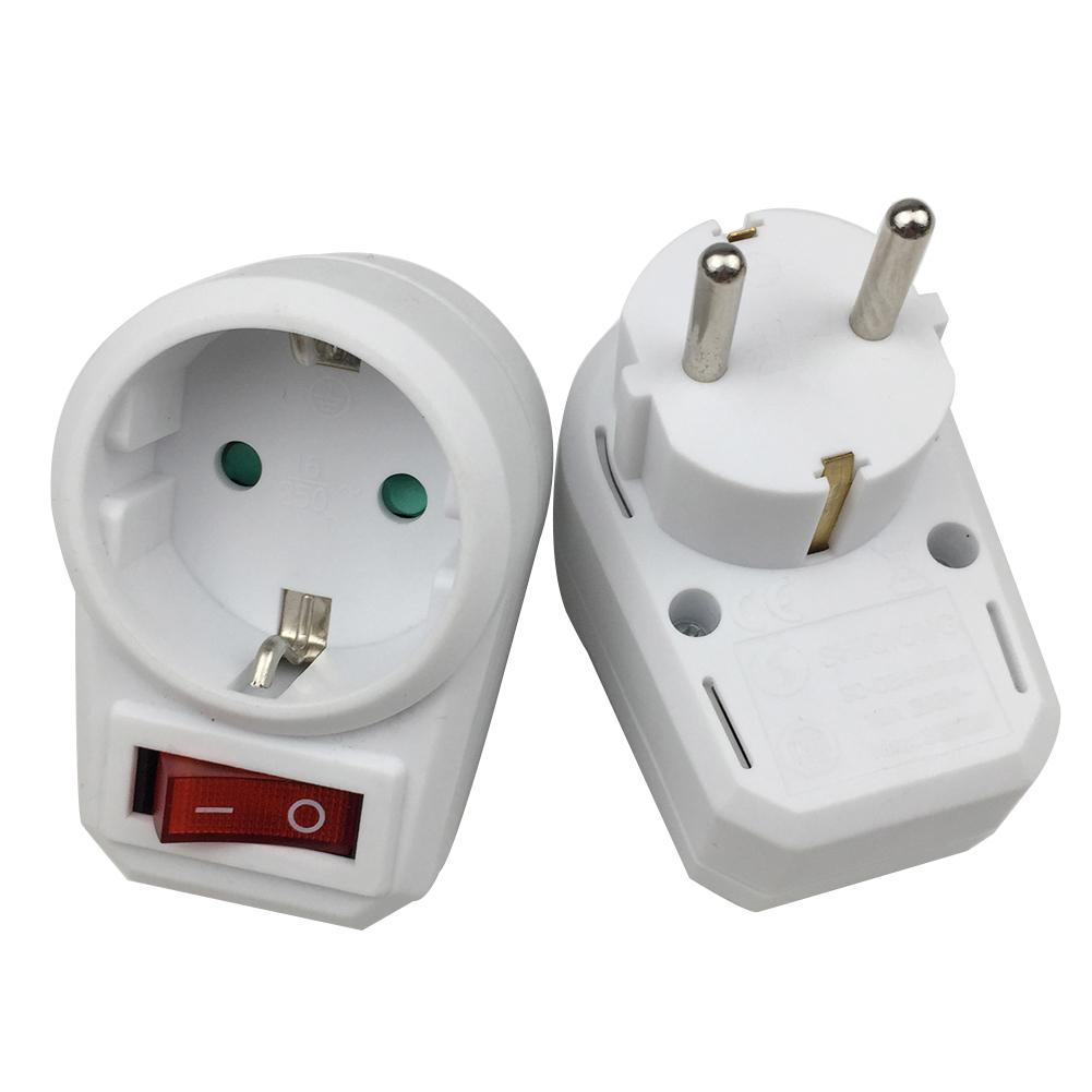 1PCS European Type Conversion Plug 1 TO 1 Way Power Adapter Plug Adaptor With Switch 16A AC 250V EU Travel Plug Socket EU Plug