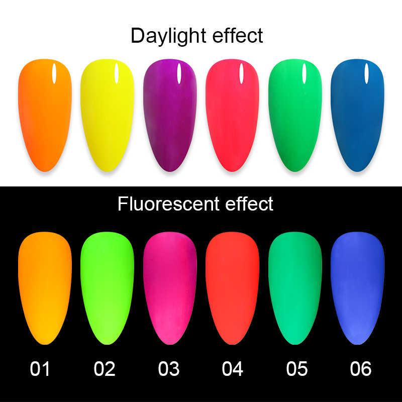 1 Box Neon Polvere di Fosforo Glitter Per Unghie Polvere Della Polvere Colorata Pigmento Luminoso Fluorescente Polvere Glitter Per Unghie 4s Glow in the Dark