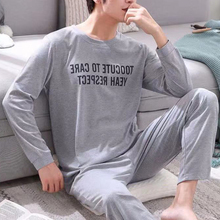 Men's Cotton Pajamas Letter Striped Sleepwear Cartoon Pajama Sets Casual