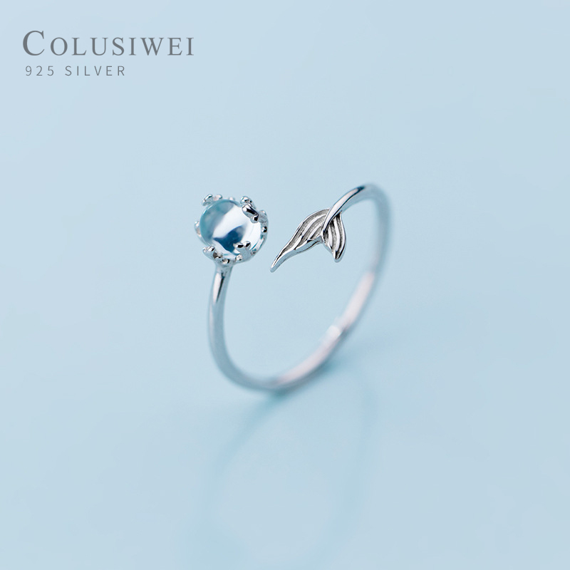 COLUSIWEI Blue Crystal Mermaid Tail Ring for Women Fashion Genuine 925 Sterling Silver Open Adjustable Finger Rings Fine Jewelry
