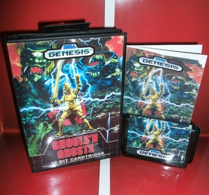 Image 1 - MD oyun kartı Ghouls n hayaletler abd kapak kutusu ve manuel Sega Megadrive Genesis video oyunu konsolu 16 bit MD kart