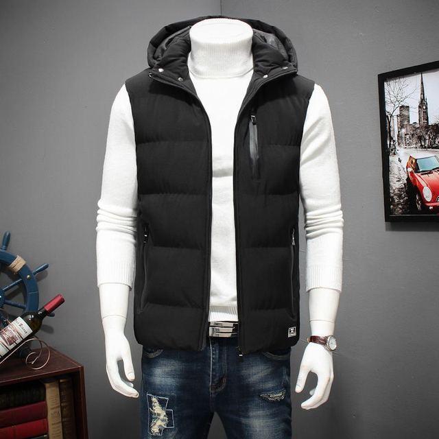 الشتاء حجم كبير مقنعين الشتاء سترة للرجال جاكيت بلا إكمام معاطف عادية الدافئة مبطن الرجال أسفل صدرية 6XL 7XL 8XL YT50164