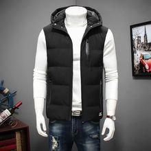 ฤดูหนาวขนาดใหญ่Hoodedฤดูหนาวสำหรับชายเสื้อแขนกุดเสื้อลำลองที่อบอุ่นผู้ชายลงWaistcoat 6XL 7XL 8XL YT50164