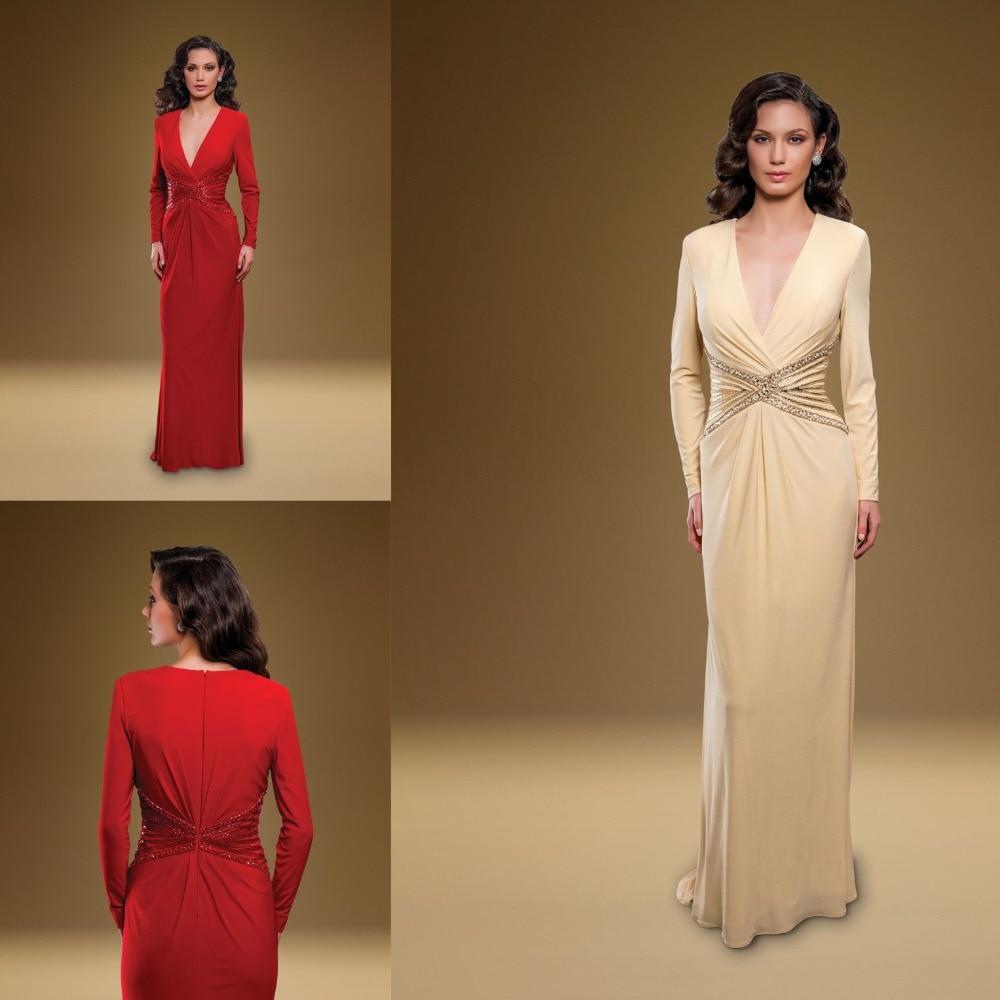 Vestido De Madrinha 2015 Top Ranking Modish Beading Waist V-neck Full Sleeve Long Chiffon A-line Mother Of The Bride Dresses