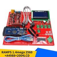 Kit de impressora 3d conjunto placa mãe da impressora 3d com rampas 1.4 + mega 2560 5 pçs módulo a4988 12864lcd painel controle Ferramentas p/cabo     -