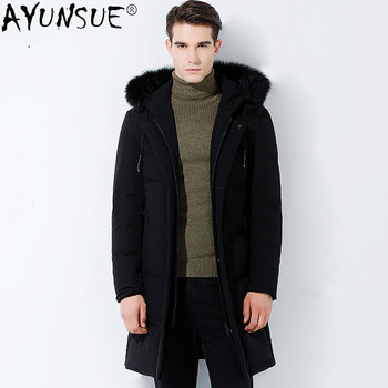 AYUNSUE Men's Winter Down Jacket Men Clothing 2020 Coat Hooded Clothes Real Fox Fur Collar Parkas Thick Mens Jackets Rape LXR636 image
