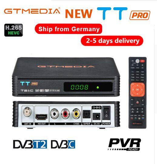 HD DVB-C DVB-T2 Récepteur GTmedia TT PRO Wifi Gratuit Boîte De TÉLÉVISION Numérique DVB T2 DVBT2 Tuner DVB C CCCAM Youtube Russe Décodeur