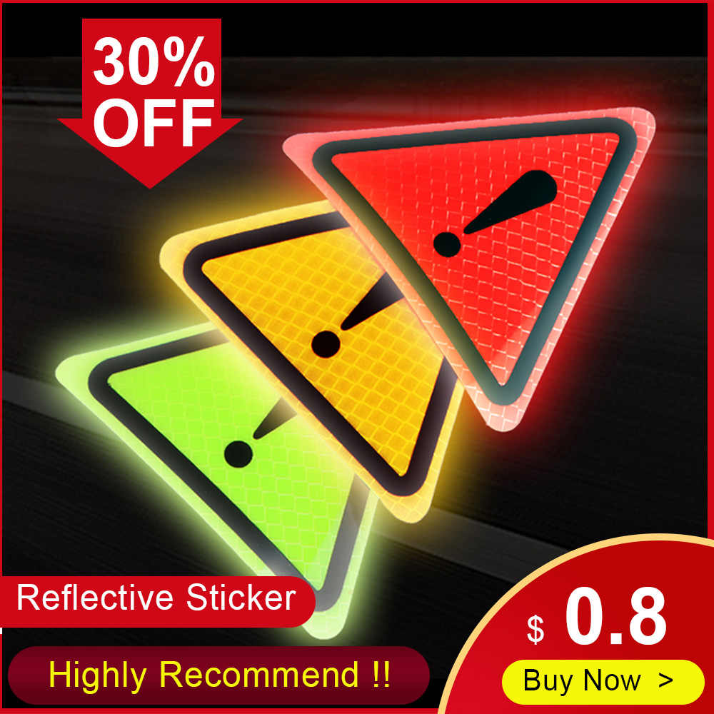 Universal Reflective Stickers Car Bodywork Decorative Paster Motorcycle Triangle Warning Label DIY Reflective Warning Sticker