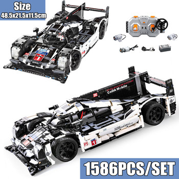 New 1586pcs RC Motor Super Sport Car Speed Champions City Mobile Fit Technic Creator MOC Building Block Bricks Toy Kid Birthday new idea rc motor power functions wall e robot fit technic figures moc building block bricks diy toy gift kid birthday xmas