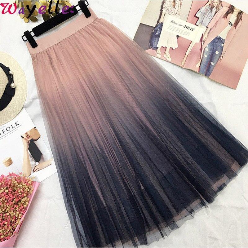 Wayelle Long Tulle Skirt Womens 2019 Autumn Gradient Korean Elegant High Waist A-line Pleated Midi Skirt Female Chic Mesh Skirts