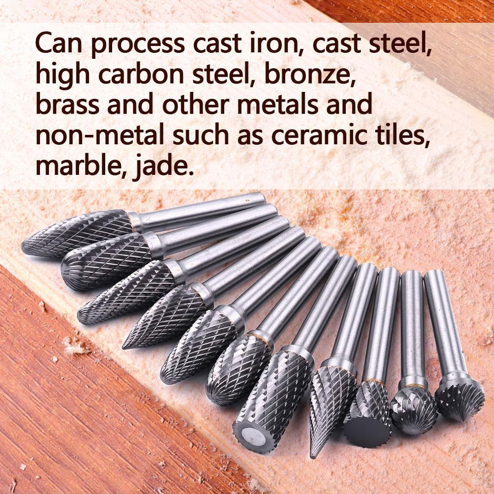 1 PCS 1/4 6.35mm Shank Diameter Tungsten Carbide Burr Double Grain Rotary Cutter File Files Kit Tools