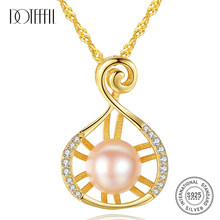 DOTEFFIL 925 Silver Necklace Pearl Pendant Zircon Inlay 8-8.5MM Natural Freshwater Pearl Jewelry Link Women Gift Free Shipping(China)