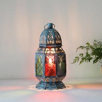 Mediterranean desk lamp retro personality bedroom lamp glass colored glaze colorful American romantic cafe bar