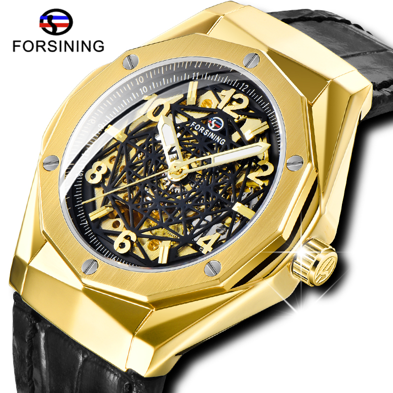 New Style FORSINING Military Men Automatic Watches Skeleton Dial Leather Strap Clock Gold Black Case Luminous Hands Wristwatches