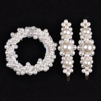 14 Colors Woman Elegant Pearl Hair Ties Beads Girls Scrunchies Rubber Bands Ponytail Holders Hair Accessories Elastic Hair Band 17