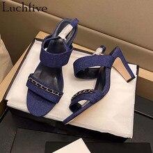 Seksowne łańcuszki wysokie sandały na obcasie jeden pasek z wystającym palcem obuwie letnie Mule znosić niebieskie czarne buty damskie