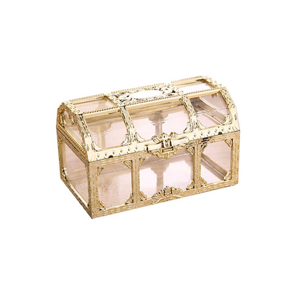 ヴィンテージ透明海賊宝ストレージボックスキャンディー小物宝石の水晶宝石小物ボックスホルダーオーガナイザーイヤリング耳