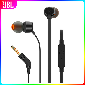 JBL T110 3.5mm Wired Earphones TUNE 110 Stereo Music Deep Bass Earbuds Headset Sports Gaming Earphone Hands-free with Microphone