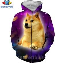 Autumn Winter Jacket Space Galaxy hoody 3D Print Animal Doge Zip hoodie Harajuku Anime Dog Hoodie Shiba Inu Sweatshirt Pullovers