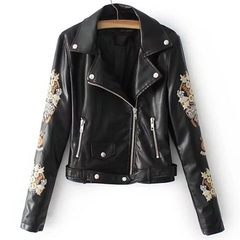 Rosetic 2020 Flower Embroidery Faux Leather Jacket Women Gothic Coat Black Motorcycle PU Womens Jackets Coats Autumn Top Female flower embroidery front smock top