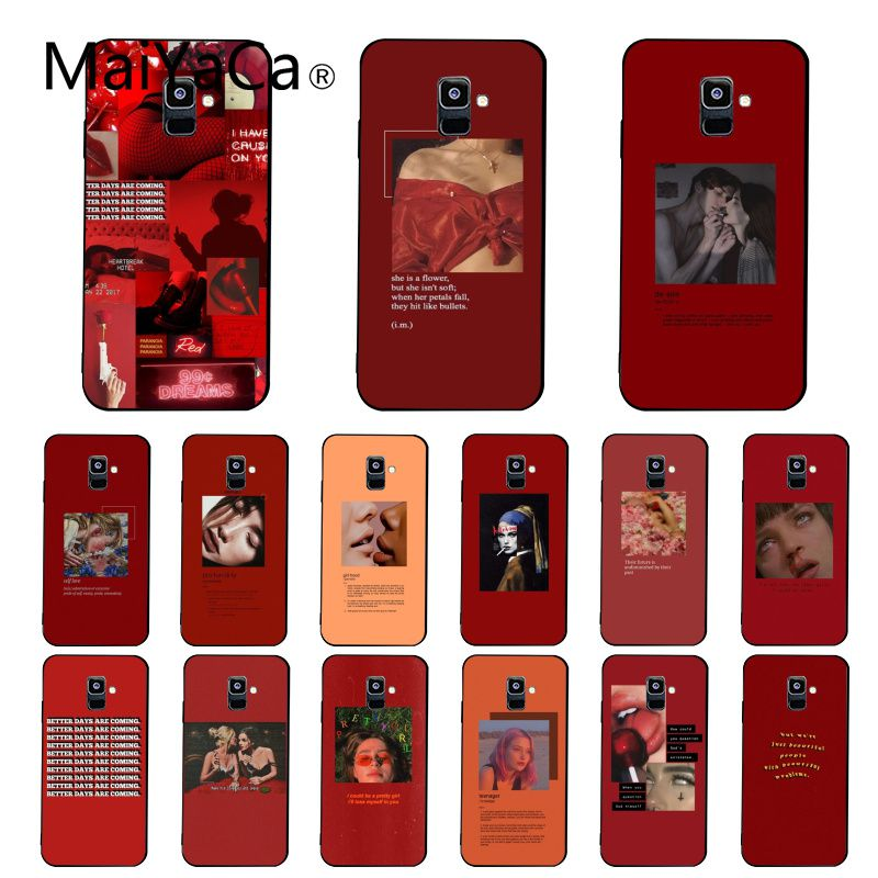 Maiyaca Retro red pattern art lyrics aesthetic <font><b>Phone</b></font> <font><b>Case</b></font> For <font><b>Samsung</b></font> <font><b>Galaxy</b></font> A7 A50 A70 <font><b>A40</b></font> A20 A30 A8 A6 A8 Plus A9 2018 image