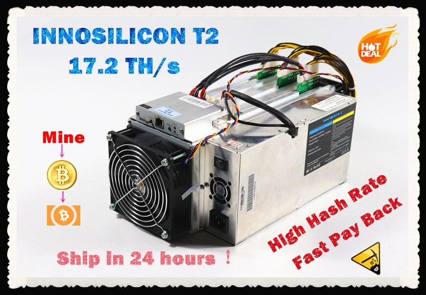 INNOSILICON utilisé T2 17.2TH/s avec PSU Asic Bitcoin BTC BCH Miner mieux que Antminer S9 S9j S17 T17 what sminer M3 M3X Ebit E10