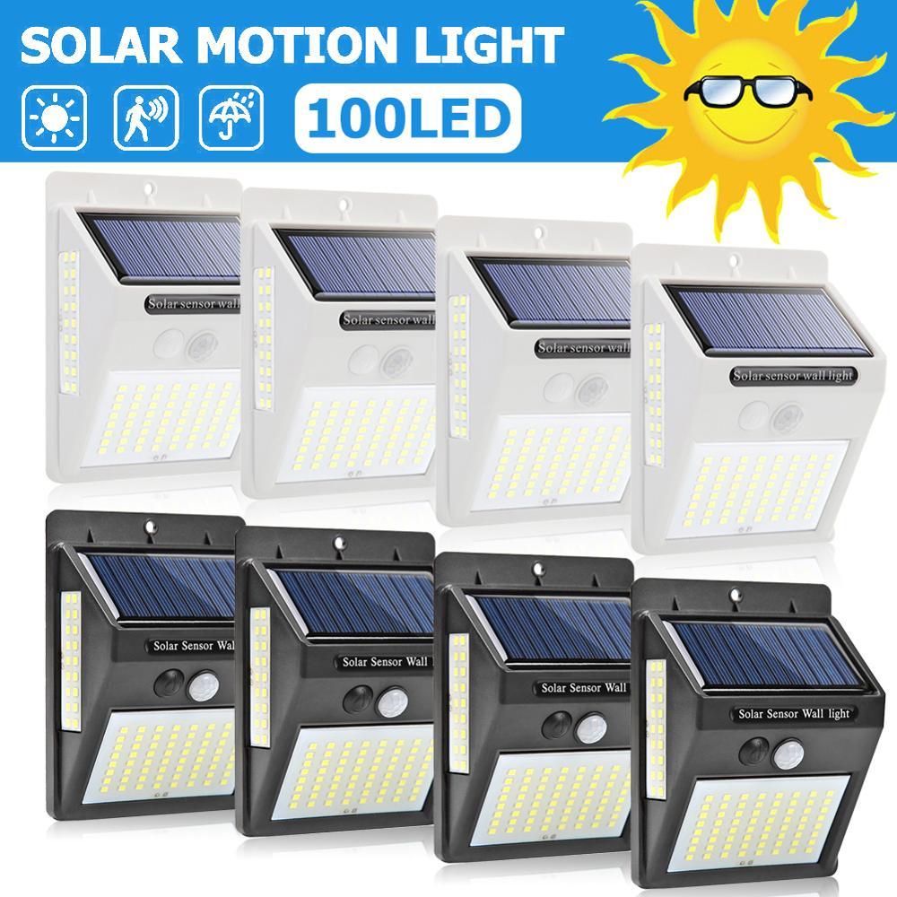100 LED A tre lati Solare del Sensore di Movimento Applique Da Parete per Esterni Yard Lampada di Via Solare Impermeabile Luce Lampade escursione e campeggio Lampada Da Giardino