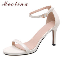 Meotina Sandals Women Ankle Strap Genuine Leather Super High Heel Shoes Open Toe Thin Heels Buckle Ladies Sandals White Size 40 gold silver genuine leather thin high heels platform buckle strap sandals fashion party shoes women