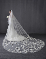 4 M 3D Floral Cathedral Wedding Veils Bridal Wedding Veils Flower Lace Two Tiers Wedding Veils White Ivory Custom