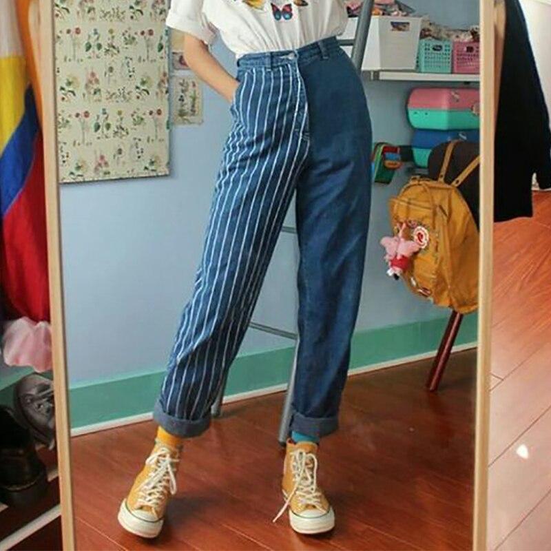 Винтажные полосатые женские джинсы, прямые джинсовые брюки с высокой талией, синие женские брюки, повседневные шикарные джинсы для девочек Джинсы      АлиЭкспресс