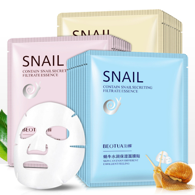 New Snail Essence Facial Mask Oil Control Anti-Aging Shrink Pores Sheet Mask Skin Care Face Mask Hydrating Moisturizing Mask