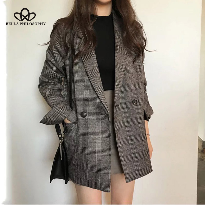 Bella Philosophy Women Autumn Long Sleeve Cotton Jacket Vintage Coat Plaid Blazer Double Breasted Blazers Office Lady Outwears