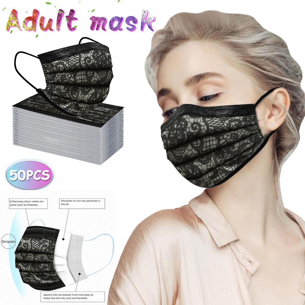 Mascarilla Reutilizable 50 шт. взрослых Модное кружевное одноразовая защита три Слои дышащая маска для лица для мужчин и женщин