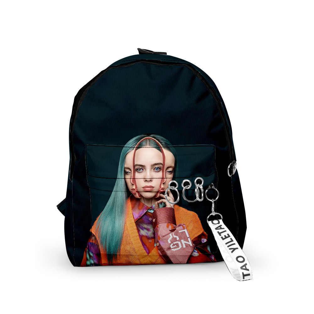 حقيبة ظهر ثلاثية الأبعاد من billie Eilish حقيبة ظهر بكلتا الكتفين للرجال والنساء حقيبة أكسفورد من قماش المدرسة