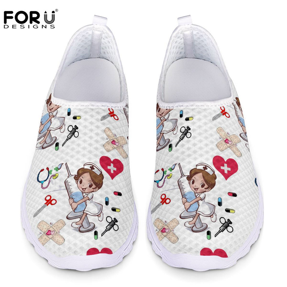 FORUDESIGNS Sneakers Women Cute Nurse Printed Female Summer Casual Walking Shoes Beach Comfortable Light Flats Shoes for Student