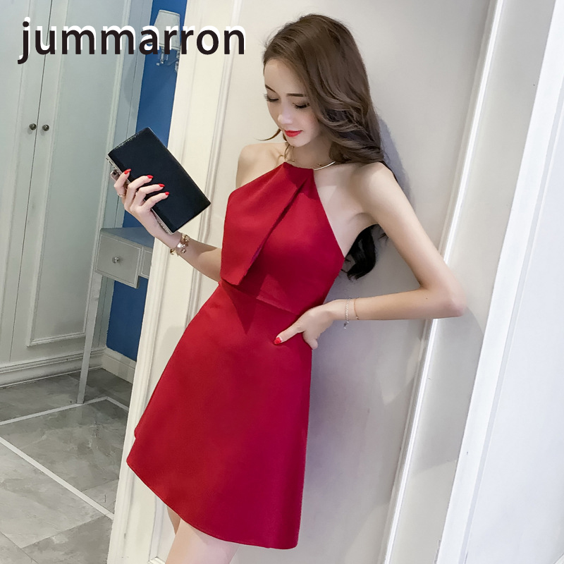 jummarron 2020 summer red <font><b>dress</b></font> black <font><b>dresses</b></font> strapless sleeveless simple charming sexy tight nightclub party beach style image