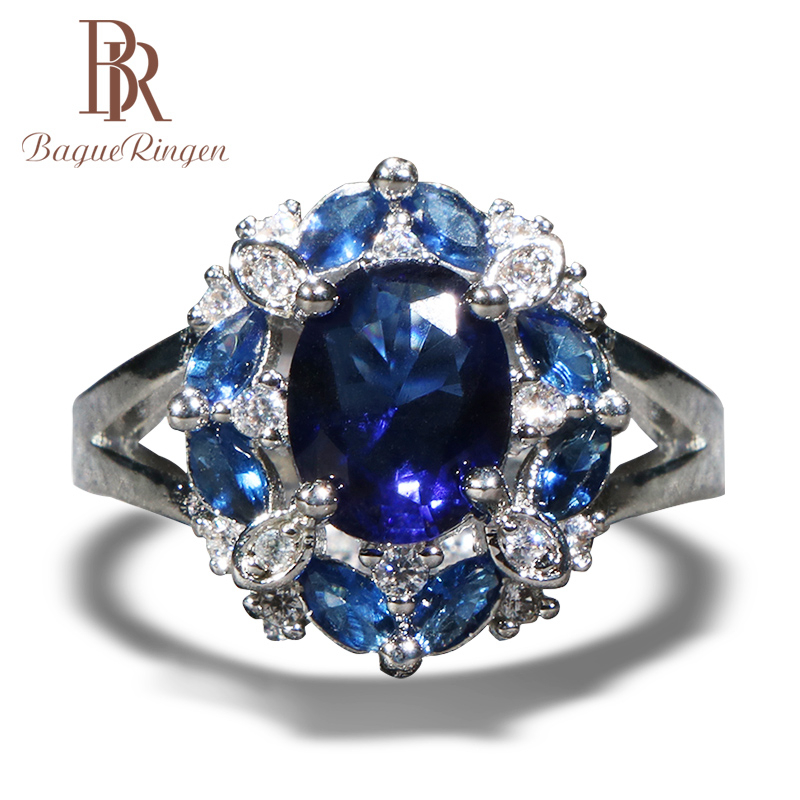 Bague Ringen Classic 925 Sterling Silver Rings For Women With Round Shape Sapphire Gemstones Women Party Wholesale Jewelry Gift