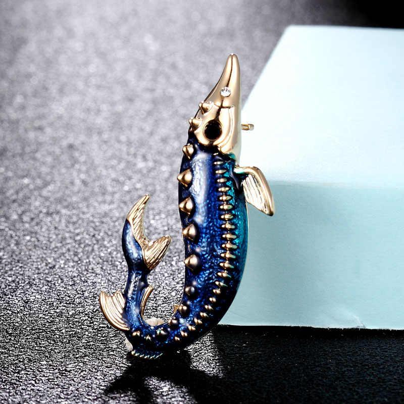 Zlxgirl Merek Hidup Blue Dolphin Bros Perhiasan Fashion Enamel Hewan Jilbab Syal Aksesoris Punk Topi Perhiasan Mutiara