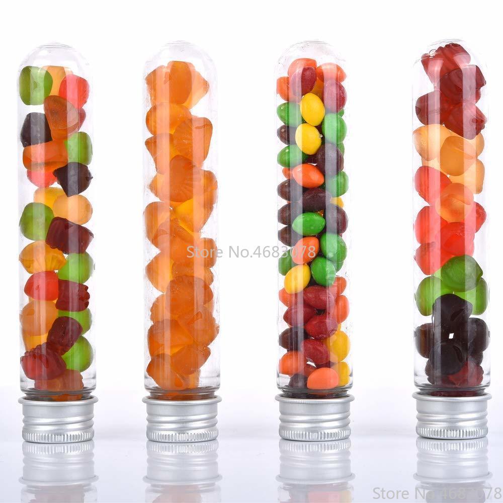 25pcs 40ml Excellent Plastic Transparent Test Tubes With Aluminum Cap Bottles 25x140mm School Supplies Lab Equipments
