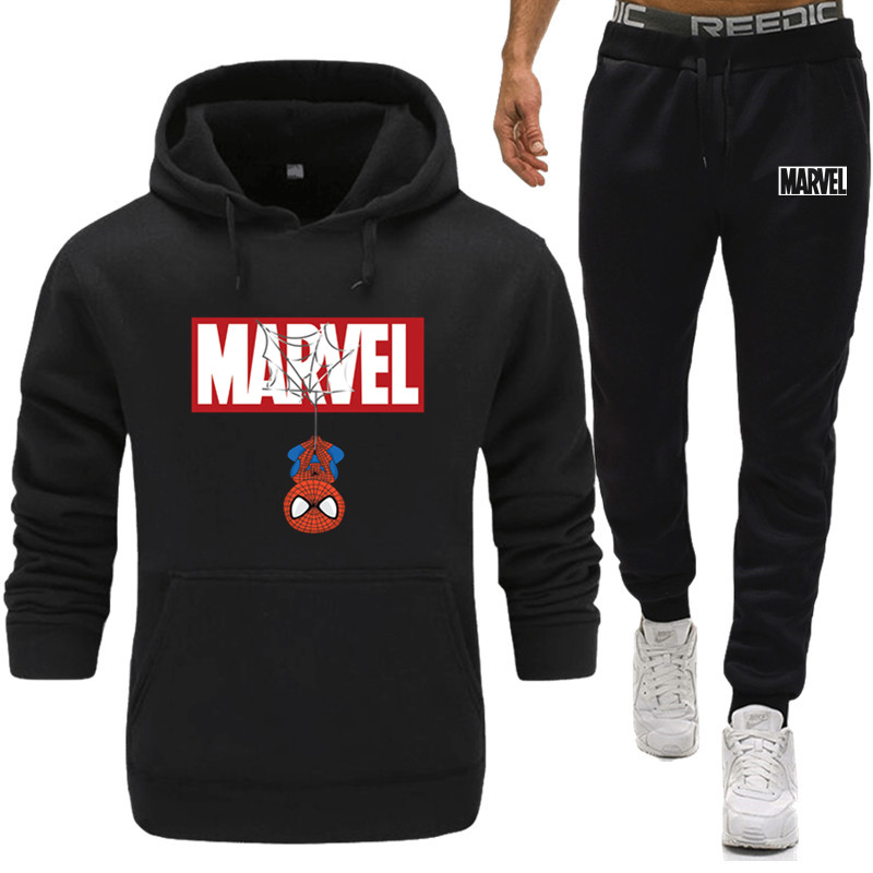New Mens Spiderman Marvel Running Sportswear Suits Gym Fitness Training Coat Hoodies Pants Sets Male Jogging Sports Tracksuit