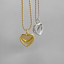 100% Silver 925 Necklace Geometric Love Double Heart Sterling Necklaces & Pendants Jewelry Woman Lady Gift