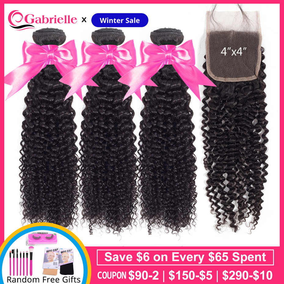 Gabrielle Malaysian Kinky Curly 3 Bundles with Closure Free/Middle/Three Part 100% Non Remy Human Hair Weaves 4x4 Lace Closure