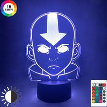 Akrylowa lampa 3D Avatar ostatni Airbender Nightlight dla dzieci wystrój pokoju dziecięcego legenda Aang Appa rysunek lampka nocna stołowa tanie tanio YANKE Night Light CN (pochodzenie) ROHS Nightlight avatar Noc światła Z tworzywa sztucznego Żarówki led Touch 110 v