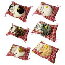 17x14cm Simulation Sleeping Cats Toy Plush Stuffed Toy Press Simulation Sound Animal Cute Doll Kids Gift Home Desk Decorations