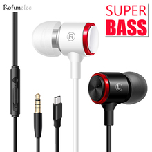 Wired Earphones Heavy Bass Metal Earbuds Sports Inear Headset 3.5mm Type C Noise Cancel Mic For MP3 Xiaomi Samsung Huawei Pad